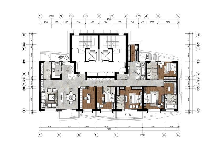 136平米+209平米-三代同堂家庭设计方案一