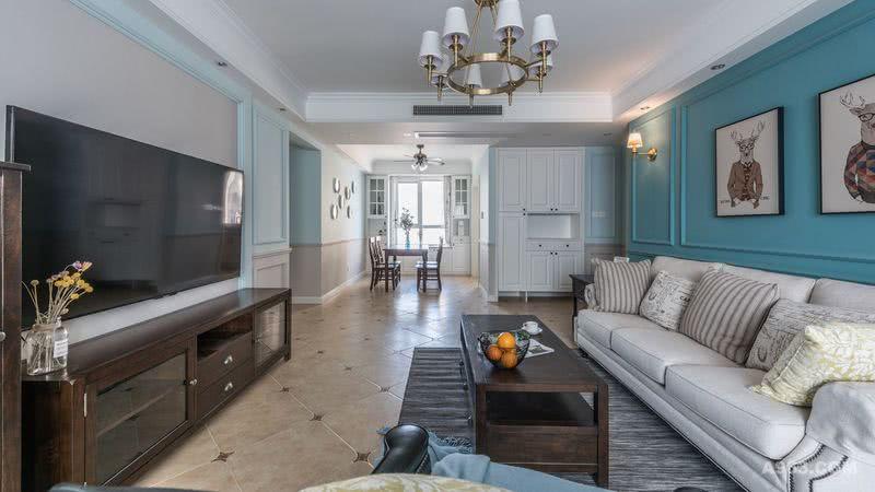墙面主色调为淡蓝色与浅咖色做上下墙AB色,视觉上将地面瓷砖的颜色延续到了墙面,增加了整体空间的层次感。