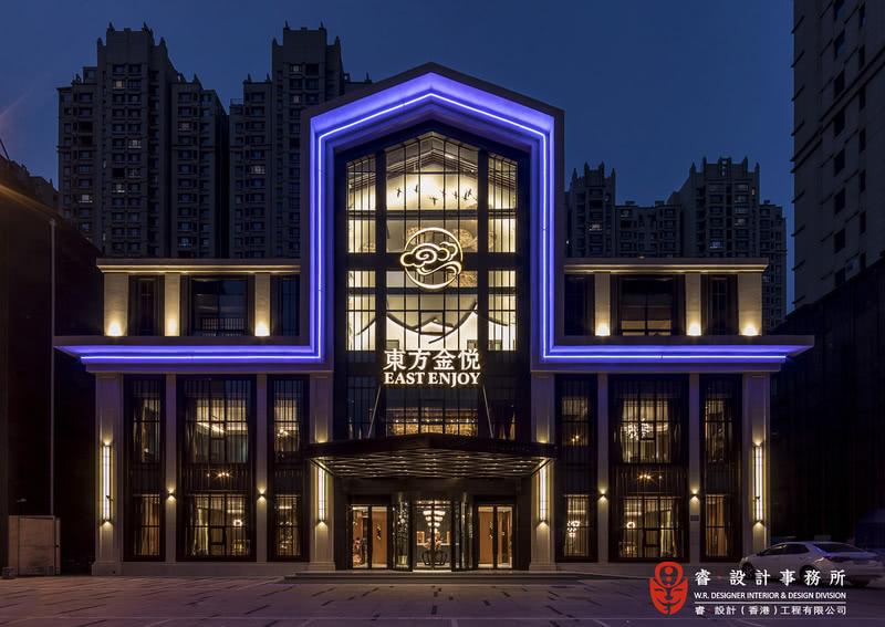 【外观实景图】东方金悦铁板烧餐厅——睿·设计团队打造。 打破传统,将建筑与室内、古典与现代元素直接碰撞,重组古典品味又具强烈现代气息的奢华时尚空间,旨在打造高品质、悦愉心的高档餐厅。