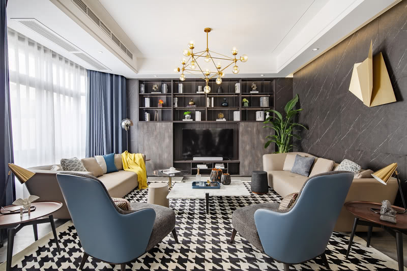 """3.客 厅 """"推开家门那一刻,内心将会充满欢愉之感"""" 设计师使用亚光面、纳帕皮革、金属以及布艺软装,配合素色材质,融入国际化的设计手法,强调精英品味的同时,着力打造空间的舒适性与实用性。"""