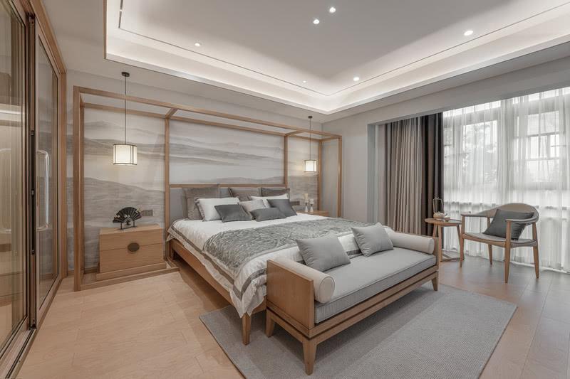 床头采用和客厅相呼应的手绘