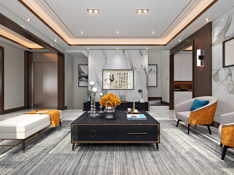 客厅-延续白净的空间调性,以白色激发人们对于包容力、现代感、高级感等各种各样的联想。同时,设计师以天然爵士白为局部墙体,使精良立体的质地彰显考究的硬朗气场,塑造大气沉稳风范。