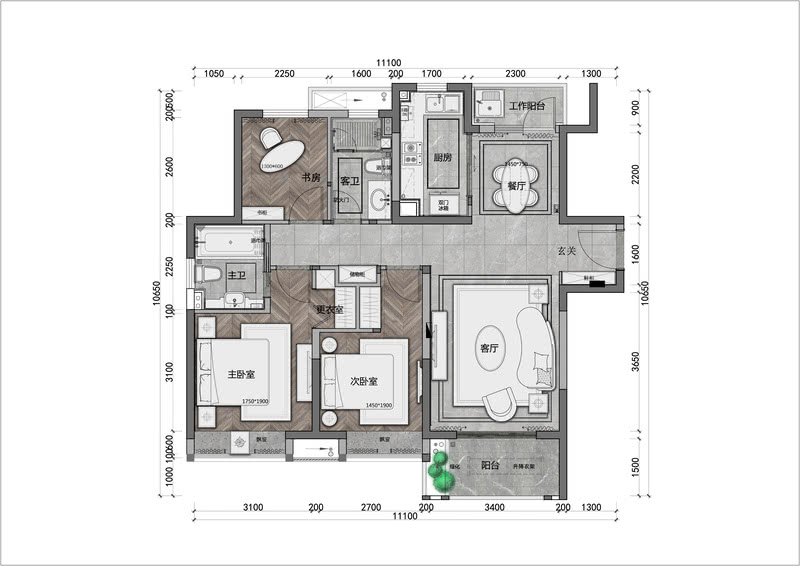 A户型3房:113㎡ 平面配置图 Plane layout