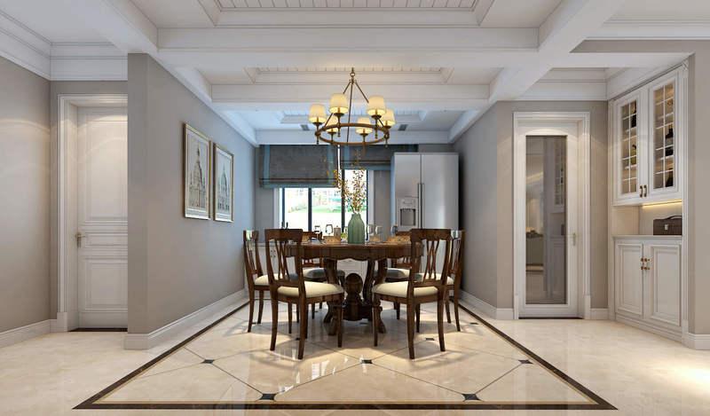 """餐区原木色基调搭配灰白色,简约浪漫,顶面圆形吊灯和瓷砖互为补充,""""方圆""""之间和谐共处。"""
