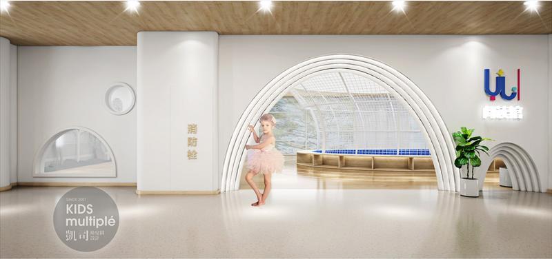 """育兰童书馆是一座隐秘在森林之中的""""水晶""""构筑物,孩子们通过拱形的大门会寻到属于自己的神秘空间,发现一个温暖丰富的世界,它暗藏了可供嬉戏的机关与洞穴,蔚蓝的天空可可以俯瞰的星空、这是孩子们自己的世界。  Yulan children's library is a"""