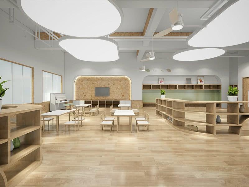 活动教室内部主要采用木色和白色色调,明亮又温馨。设计师巧妙运用木色系软装搭配,考虑自然与现代相容的新关系,选择低调的极简、自然却又有禅意的混搭,展现幼儿学习空间的低限美,静定且不动声色,但却精彩无比,自成一格的木色森林感。     The interior of the activity classroom mainly adopts wood and white tones, which are bright and warm. The designer skillfully uses the wood color system soft clothing collocation, considers the new relationship between nature and modern compatibility, chooses the low-key simple, natural but Zen like mix and match, and shows the low limit beauty of children's learning space, which is static and motionless, but it is wonderful and unique wood color forest sense.     原木色的空间主题色,搭配顶面的白色不规则吊灯设计、简约绿植,让幼儿空间呈现出一种清新简约的效果。     Log color space theme color, with the top of the white irregular chandelier design, simple green planting, so that children's space presents a fresh and simple effect.
