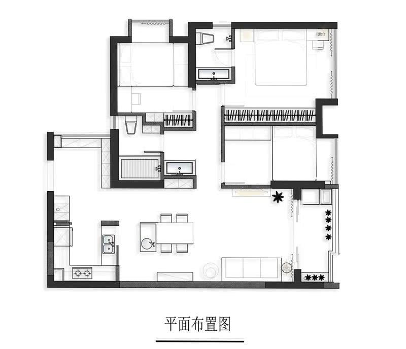 """设计师主要把空间改造重点放在""""后半部分"""",即过道、卧室、次卫。通过拆除与重置墙体,让每一个空间得到最大化的利用,空间动线也随之变得愈加流畅,从而提升居住舒适感。"""