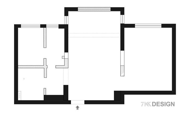 原始户型图 1、原始厨房空间被前房东改成一个卧室,外侧是厨房,两个空间都很小,很压抑。  2、封闭式卫生间没有窗户,采光比较很弱,没有干湿分离。  3、客厅和阳台上方有一道梁,使得整个客厅空间看上去比较压抑。  4,、厨房和卫生间共同的过道和进入主卧的过道都有点浪费。