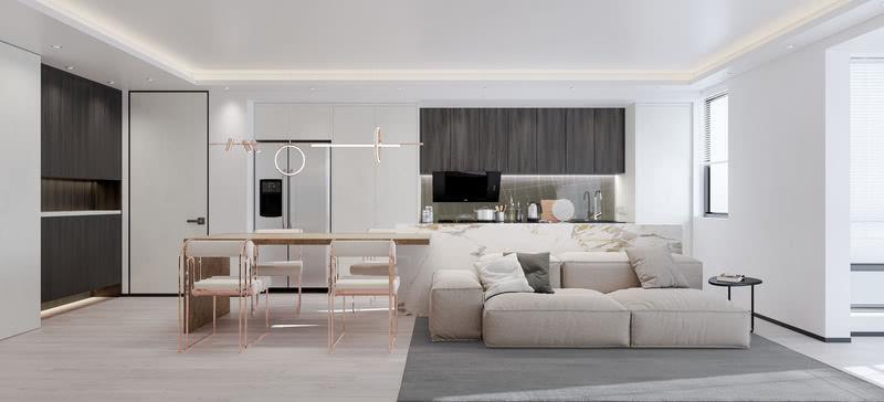 优美的线条同时也创造了空间的艺术性,客厅采用灰色的沙发和大理石镶嵌黄铜的吧台组合形式构建会客区,其素雅不失高贵,优雅不失温情的调性。 请输入图片说明