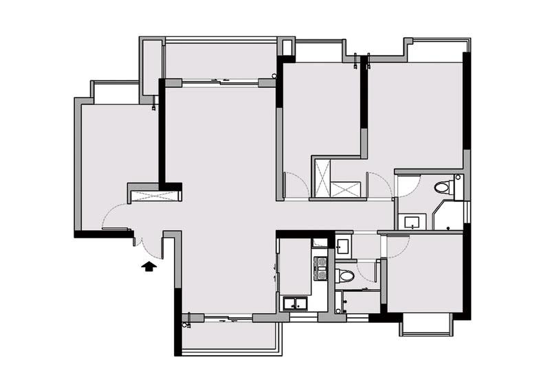 原有精装房的整体布局还算可以,但却存在以下不足:1、客厅推拉门的设计鸡肋,压缩了客厅的空间。2、整个空间收纳不够。3、客餐厅地面瓷砖过于奢华,不符合业主需求。