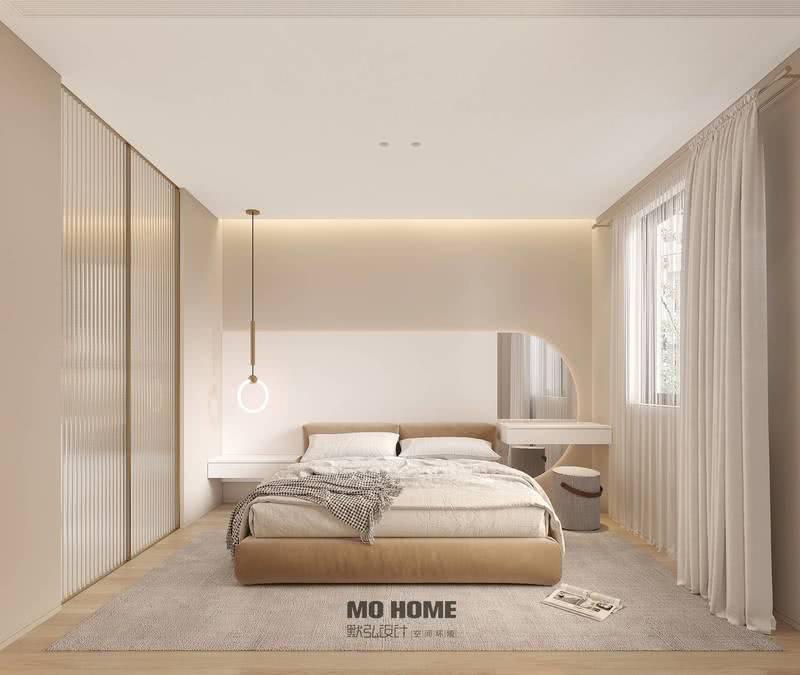 卧室在简约的同时增添雅致气息,浅色的暖灰色与玫瑰金相得益彰,在象牙白的布帘映衬下,柔和雅致的气韵在休憩空间内缓缓发散,几分暖意、几分光影构筑出雅而舒朗的空间氛围。