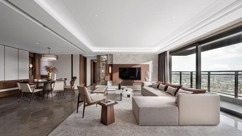 堂厅的结构宽敞明亮,以东方传统审美取向的中正布局为主,用大量的竖直线条和错落的水平层面,使室内空间别具一格。浩浩阳光,岁月静好,都蕴藏在这厅堂之中。这种既包含有东方神韵又符合现代人的审美,便是新中式独有的气质。