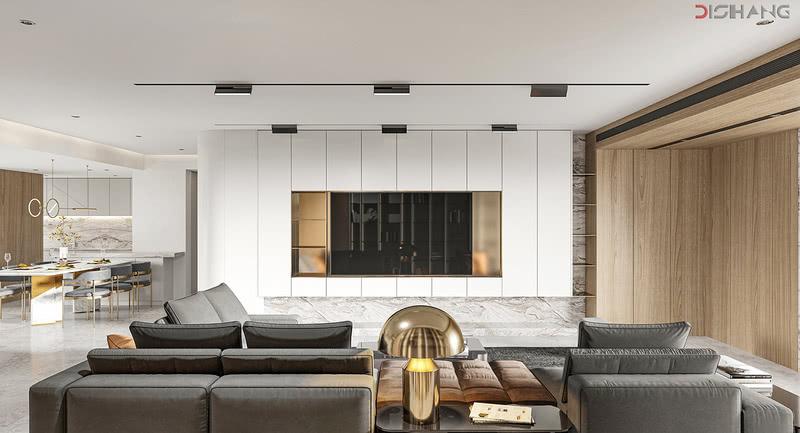 客餐厅以靠垫、坐垫以及木质板材等多种元素的组合,突出轻巧与精致,在和谐与舒适中变幻出具有现代之美的生活空间。