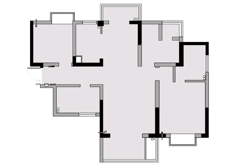 原户型平面图分析:1、原户型的走廊过道比较长,光线特别暗,鞋柜没有收纳空间。2、原有厨房摆下冰箱后,操作台面不够,不能够满足业主的功能需求。3、小孩房分割出一个小阳台,空间规划不合理。3、主卧室空间利用率不高,空间收纳不足。