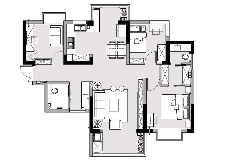 改造后的平面图:1、把靠近卫生间干区的墙体拆除,把光线引入走廊,同时也缩短了通道的距离。2、把餐厅做成开放式,延伸操作台面至原有阳台,增加西厨的功能。3、拆除小孩房原有阳台墙面,解决室内的空间不足的问题。4、根据业主习惯,主卫取消淋浴区,增加衣帽间的空间,解决收纳不足的问题。