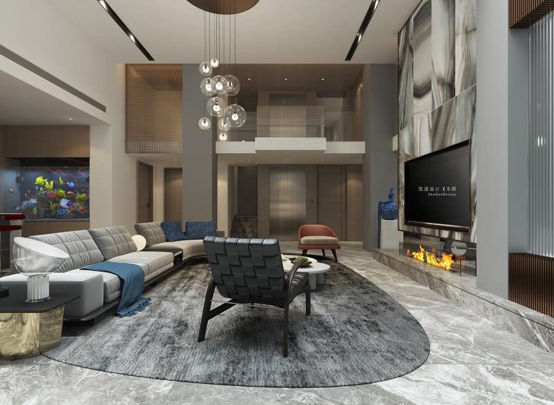 地下室公共区域  整个用暖灰色作为大面积的基底色,是让空间不会显得厚重的关键;白色的顶面、灰色的地面、与局部的白色相呼应,并在整个空间中加入木色来提高室内的温度感。