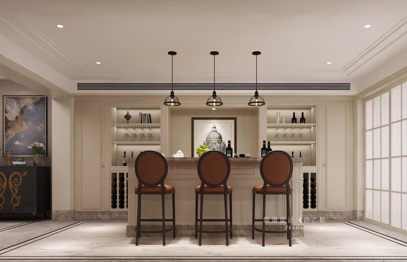 地下室多功能区在满足家人会客的同时,增加西厨台面,让后期生活有足够的储物空间,增加了情调。