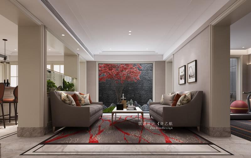 将干景置于家庭厅外,通过落地大玻璃实现了室内与室外的相连,在闲暇之余赏景,不失为一大乐趣。