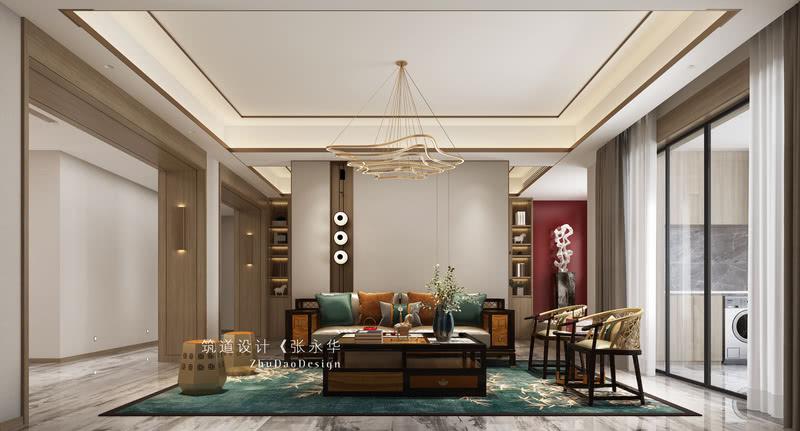 沙发背后做了一面造型背景,给茶室和客厅做出空间划分的同时,保证了两个空间的联通。独特造型灯的点缀,也彰显出主人的个性。
