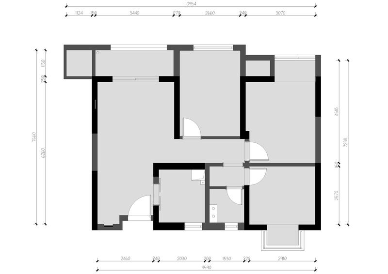 原户型次卧面积较小,与主卧之间的过道空间稍显拥挤,我们通过改变台盆位置,把过道的空间适当的留空,以达到空间利用最大化。