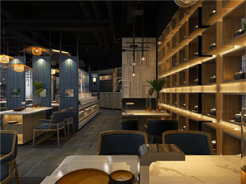 配餐柜及明档均采用抽屉设计,让空间增加其中式元素。青石地面为空间营造沉稳气息。楼梯间旁采用盒子阵列造型,增加其茶文化的运用