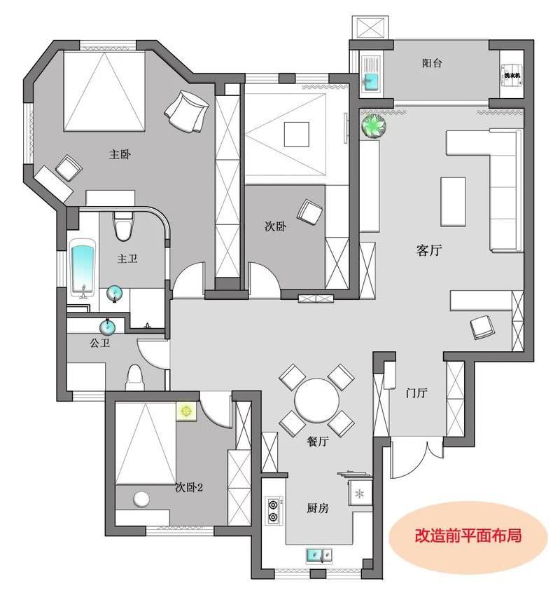房子的原始户型也不错,三房二厅二卫,客厅和主卧都很大,4口之家住足够了,这也是为什么出去看房很难看中的原因,为了多一个房间,多拿几百万,房间还没有现在的房间大!