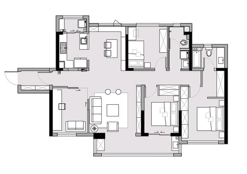 改造后的平面图:1、拆除厨房与卧室的隔墙,把北面的卧室改造成为餐厅,打开厨房视野,扩大自然采光和通风。2、入户原有餐厅改造成一间半开放式书房,隔墙采用玻璃隔断,引进采光。3、将主卧墙体向衣帽间移动60公分,在床尾增加一整面的衣柜,解决主卧室收纳问题。4、见缝插针尽可能的多设置储物柜,本来并不大的户型通过各种柜类组合的设计,拥有了大量的储物空间.