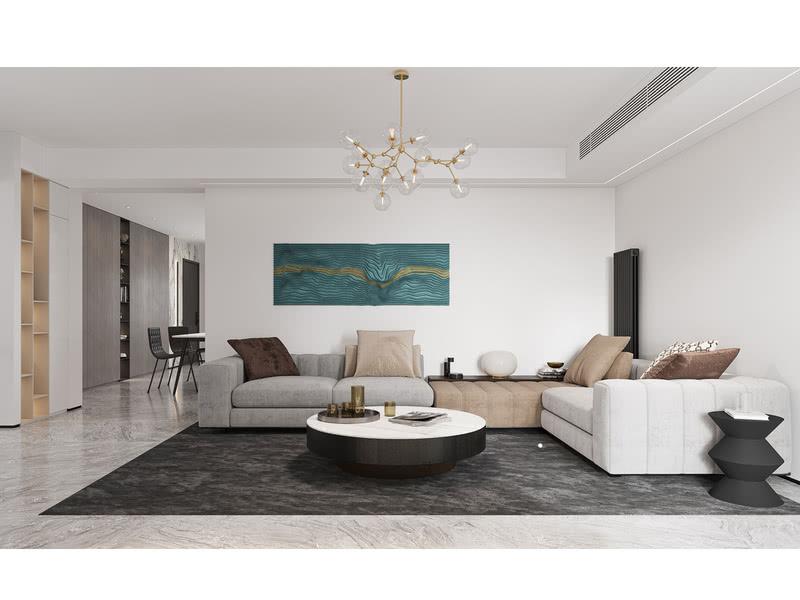 客厅没有太复杂的造型,因为空间格局的原因,这里所有的墙体都不能改动,只能在原有的户型结构和格局上通过软装配饰和家具来搭配。这里放了一个大型的转角沙发,通过沙发色彩搭配给平整的空间增加一些层次感,墙面上采用的亮色挂画则是点睛之笔。