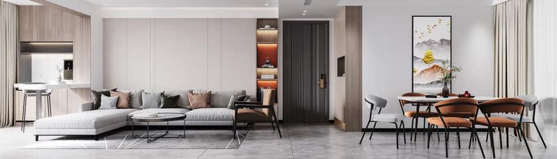 沙发背面采用的护墙板装饰材料,并在入户旁边设置了立柜。给回家后放置物品提供方便,并在柜中增加两处调色处理,增添了几分色彩。