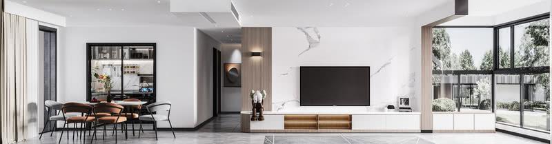 电视背景采用了白色大理石来作为主要装饰,边上增加了木饰面与壁灯配合装饰品来点缀背景墙。定制的电视柜也起到了收纳功能