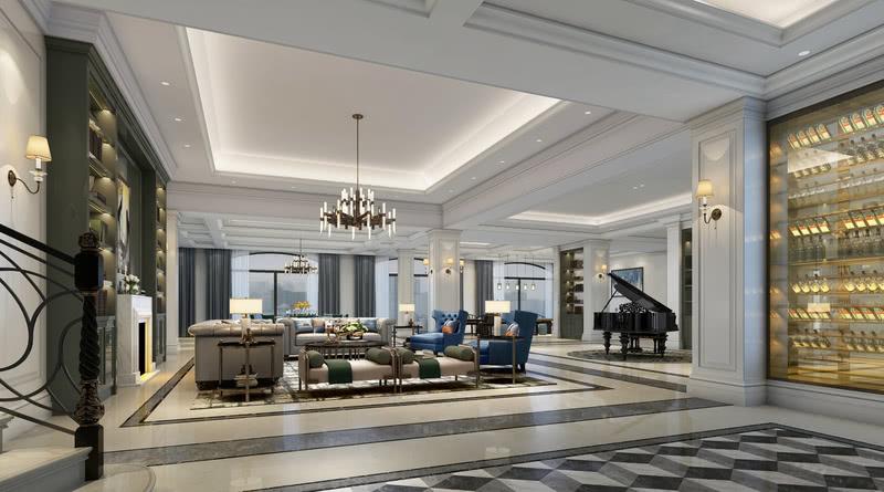 负一层空间主要划分有休闲区、餐厅、吧台与斯诺克区域。作为最重要的公共空间,承载着待人接物、休闲娱乐的重任,所以在营造整体氛围上以优雅、大气为主。沙发、靠枕、窗帘和地毯都采用不同色阶的宝蓝色和米灰色,装饰背柜的颜色则选择沉稳、大气的墨绿色,精致素雅的茶具、壁炉上古典明快的挂画,正在讲述着主人的精致生活。餐厅中采用圆桌形式的餐桌,餐桌上泛着温润光泽的水晶杯、精致花边的餐盘,无一不体现出主人的品味与格调。负一层定位趋向于休闲娱乐,舒适的游戏棋牌以及斯诺克等,为男主人的休闲空间增添了独特的生活品味。走道处钢琴悦耳的旋律缓缓流淌开来,为这处过度区域增添了几分高雅情趣。