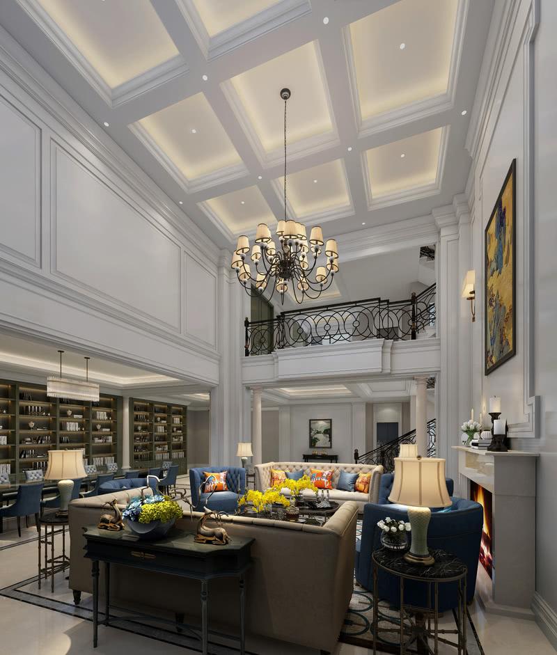 一层客厅采用挑空的设计,璀璨的灯饰、雅致的护墙、宝蓝色丝绒沙发、大理石茶几、墨绿色背柜···它们相互配合,又在明度和饱和度上各自变化,增加了视觉的丰富性。整个空间里,宝蓝色绒面沙发是最出挑的存在,为客厅带来了活力的同时,却依然保持了整体的华丽气质。