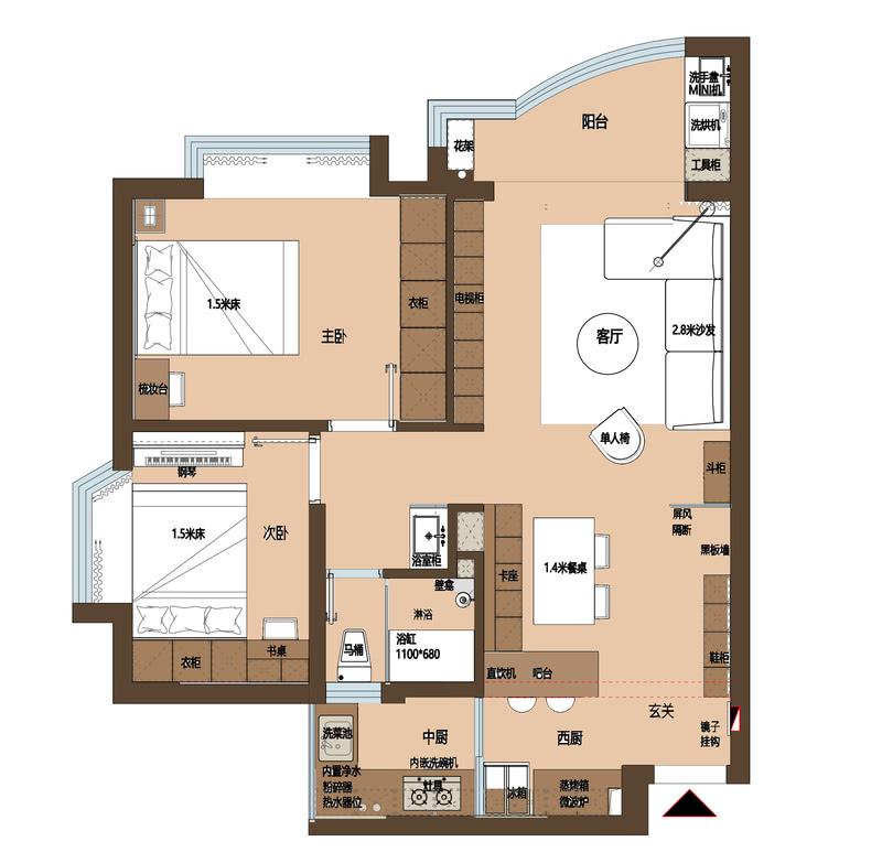 改造后平面布置图:  1.将厨房墙体打掉,扩大入户门口的空间感,同时增加玻璃屏风阻隔一眼穿过整个空间,增加缓冲。  2.打掉原生活阳台,扩大厨房的使用空间,将小阳台的区域与部分原来厨房面积作为中厨,既将厨房功能细化,中厨的划分也将客餐西厨区域整体化,同时又将大阳台玻璃门取消,扩大了客厅的面积,LDK一体让空间视觉更大。而吧台的加入也给厨房增加更多的使用场景。  3.将餐厅与卫生间的墙体打掉,扩大卫生间的面积,再将卫生间的面积进行细部划分,干湿分离与浴缸淋浴一应俱全。  4.原本主卧储物空间小而且放不了梳妆台,将主卧门的位置移动,门口做整面衣柜,增加储物也可以加入女士必备的梳妆台。小卧室因为要兼顾办公需求,空间较小榻榻米是最佳选择。