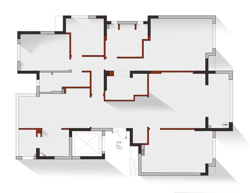 业主需要多储物,所以我们将入户原卫生间调整一部分为客房衣柜,一部分调整为入户专用衣帽间用来放置常用鞋子,外穿衣物等。 餐厅位置通过调整原卫生间墙体分割,加入了独立酒柜。餐厅我们规划为西餐操作区及就餐区