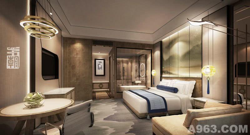酒店设计公司-FDD五朝国际酒店设计机构-周青设计作品 标准间:像月亮洒落大地的银辉,像闪闪的繁星,洒落在床边。