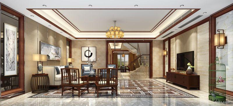 李天龙作品:华侨城纯水岸复式楼现代中式设计