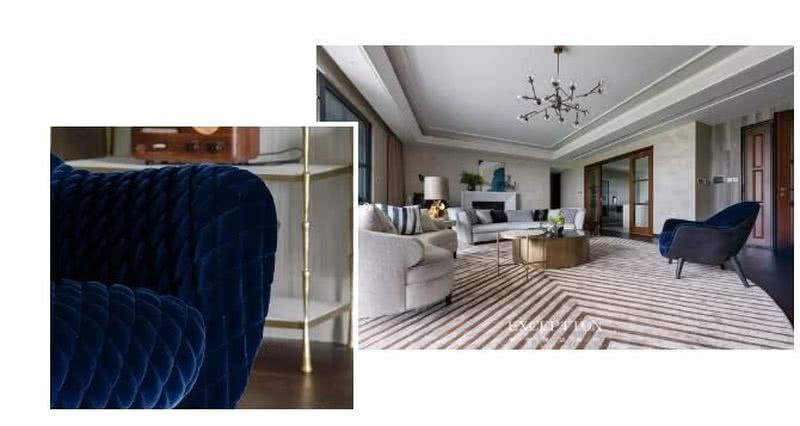 【设计解读·客厅】   来自意大利poliform的休闲单椅深情回望装饰画,似白浪沙滩上的浪漫邂逅,共同细数海风轻抚的恬静时光。高贵的宝石蓝与金色,宛如立身于前的欧洲贵族,矜雅贵气,不经意间就能成为空间焦点。
